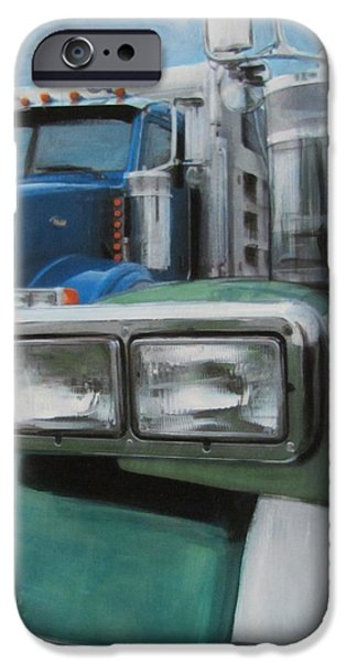 Close Up Mixed Media iPhone Cases - Trucks in Green and Blue iPhone Case by Anita Burgermeister
