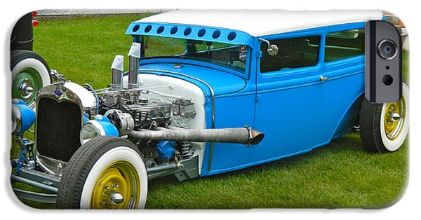 Old Cars iPhone Cases - True Blue Cruiser iPhone Case by Randy Rosenberger