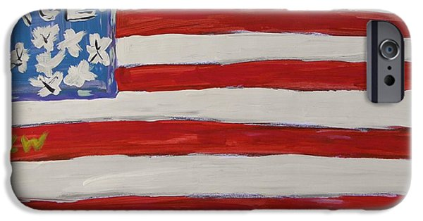 Old Glory Drawings iPhone Cases - True Flag iPhone Case by Mary Carol Williams