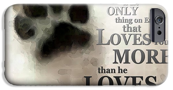 Huskies Digital Art iPhone Cases - True Love - By Sharon Cummings Words by Billings iPhone Case by Sharon Cummings