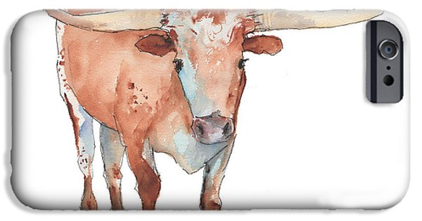 Pen And Ink iPhone Cases - True Texas Longhorn iPhone Case by Kathleen McElwaine