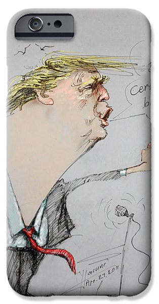 Barack Obama iPhone Cases - Trump in a mission....Much Ado About Nothing. iPhone Case by Ylli Haruni
