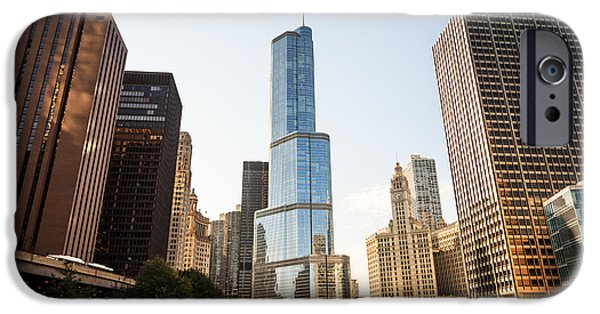 Wrigley iPhone Cases - Trump Tower and Downtown Chicago Buildings iPhone Case by Paul Velgos