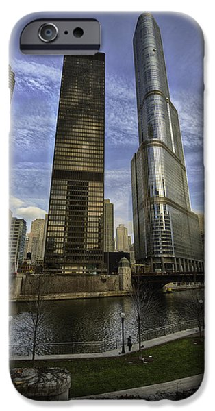 Wrigley iPhone Cases - Trump Tower and River Front iPhone Case by Sebastian Musial