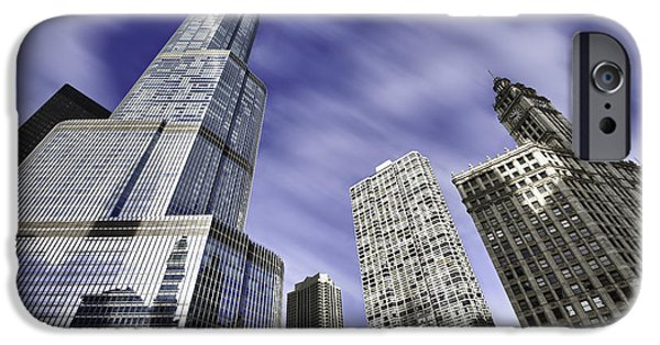 Wrigley iPhone Cases - Trump Tower and Wrigley Building iPhone Case by Sebastian Musial