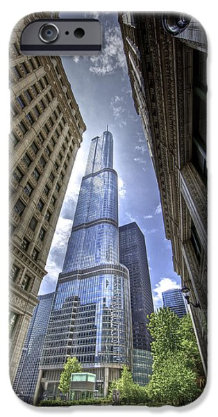 Wrigley iPhone Cases - Trump Tower between Wirigley Building iPhone Case by Krzysztof Hanusiak