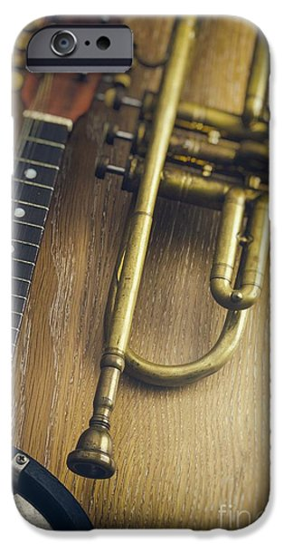 Audio iPhone Cases - Trumpet and Banjo iPhone Case by Carlos Caetano