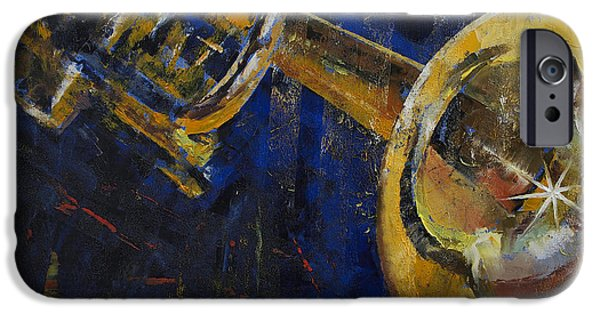 Midnight Blue iPhone Cases - Trumpet iPhone Case by Michael Creese