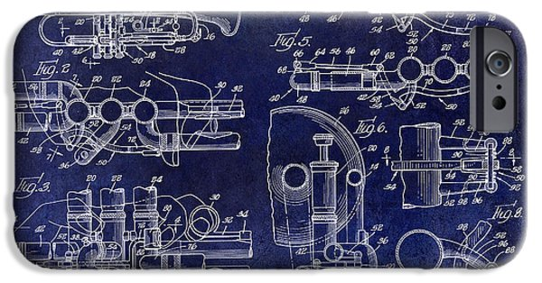 Marching Band Photographs iPhone Cases - Trumpet Patent Drawing Blue iPhone Case by Jon Neidert