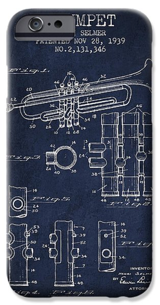Trumpet iPhone Cases - Trumpet Patent from 1939 - Blue iPhone Case by Aged Pixel