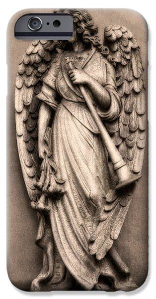 Headstones iPhone Cases - Trumpeter Angel iPhone Case by Tom Mc Nemar