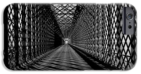 Asphalt iPhone Cases - Truss bridge black withe iPhone Case by Jan Sieminski