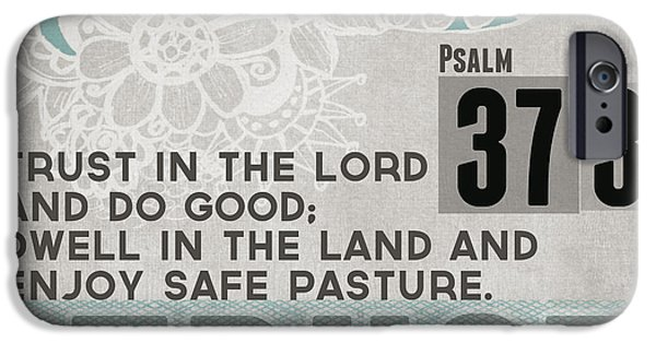 Psalm iPhone Cases - Trust In The Lord- Contemporary Christian Art iPhone Case by Linda Woods
