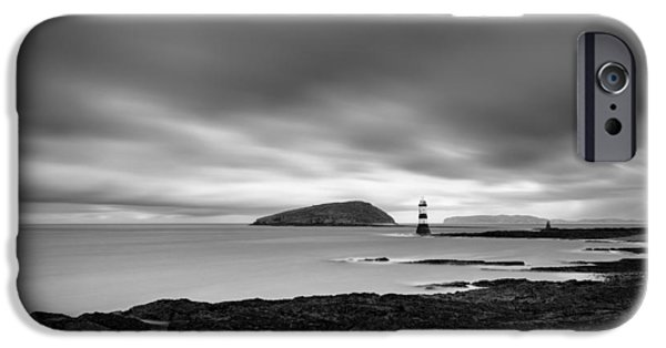 Dave iPhone Cases - Trwyn Du Lighthouse 1 iPhone Case by Dave Bowman