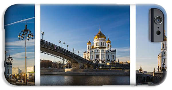 Russian Cross iPhone Cases - Tryptich - Cathedral of Christ the Savior of Moscow City - Features 3 iPhone Case by Alexander Senin