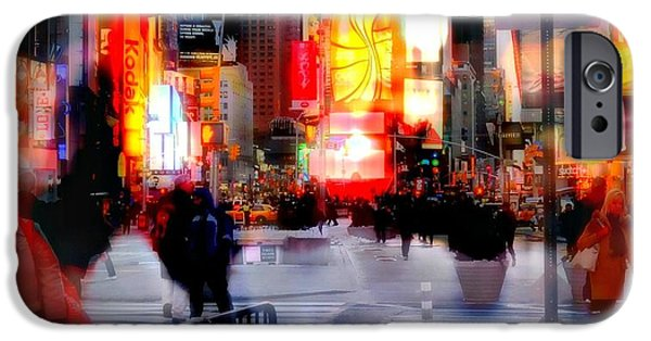Nyc Rain iPhone Cases - TSquare Water Colors iPhone Case by Diana Angstadt