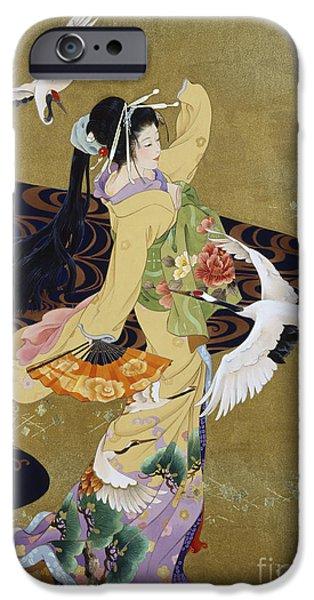 Birds Digital iPhone Cases - Tsuru No Mai iPhone Case by Haruyo Morita