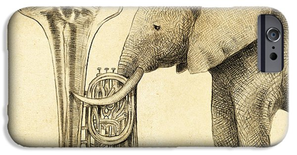 Elephant iPhone Cases - Tuba iPhone Case by Eric Fan