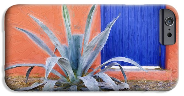 Vivid Mixed Media iPhone Cases - Tucson Barrio Blue Door Painterly Effect iPhone Case by Carol Leigh