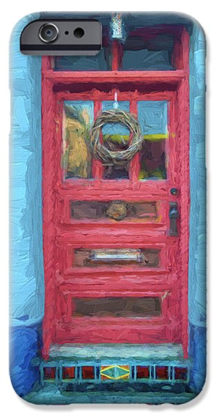 Vivid Mixed Media iPhone Cases - Tucson Barrio Red Door Painterly Effect iPhone Case by Carol Leigh