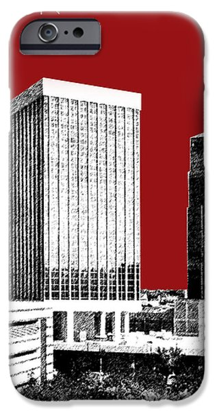 Pen And Ink iPhone Cases - Tucson Skyline 1 - Dark Red iPhone Case by DB Artist
