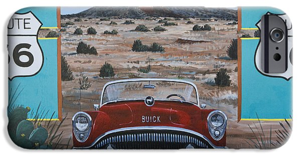 Mural Photographs iPhone Cases - Tucumcari Tonight Mural on Route 66 iPhone Case by Carol Leigh