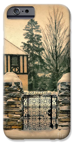 Wintertime iPhone Cases - Tudor House Behind Gate in Snow iPhone Case by Jill Battaglia