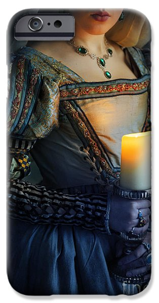 Duchess iPhone Cases - Tudor Renaissance Woman Holding A Candle iPhone Case by Lee Avison