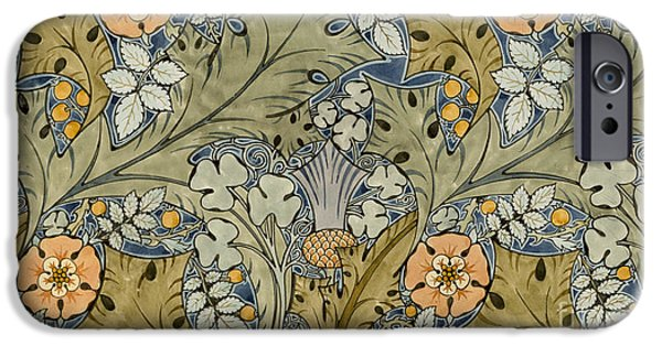 Thistle iPhone Cases - Tudor roses thistles and shamrock iPhone Case by Voysey