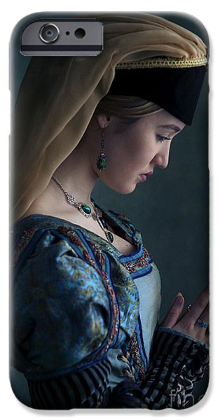 Duchess iPhone Cases - Tudor Woman Praying iPhone Case by Lee Avison