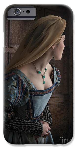 Duchess iPhone Cases - Tudor Woman Spying Through A Window iPhone Case by Lee Avison