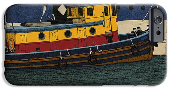 River Mixed Media iPhone Cases - Tug iPhone Case by Meg Shearer