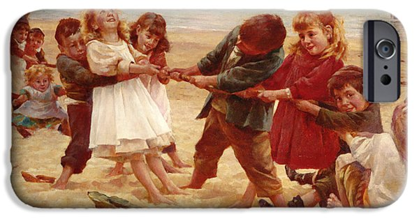 Innocence Paintings iPhone Cases - Tug of War iPhone Case by Edward R King