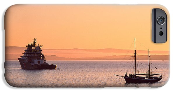 Tall Ship iPhone Cases - Tugboat And A Tall Ship In The Baie De iPhone Case by Panoramic Images