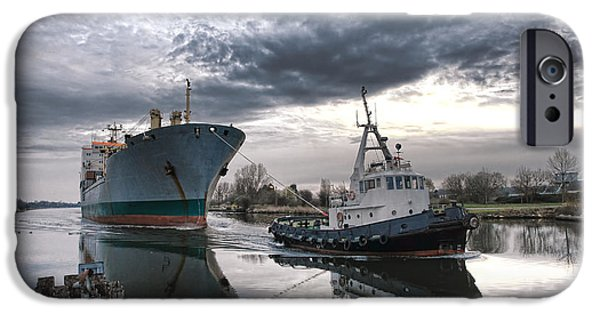 Morning iPhone Cases - Tugboat Pulling a Cargo Ship iPhone Case by Olivier Le Queinec