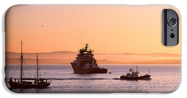 Trawler iPhone Cases - Tugboat With A Trawler And A Tall Ship iPhone Case by Panoramic Images