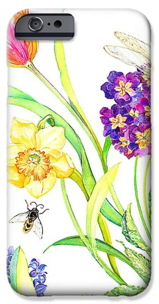 Flora Drawings iPhone Cases - Tulip and Dragonfly iPhone Case by Kimberly McSparran