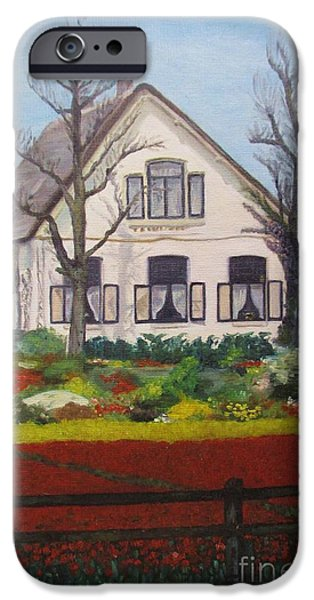 Garden Scene Paintings iPhone Cases - Tulip Cottage iPhone Case by Martin Howard