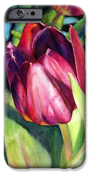 Close Paintings iPhone Cases - Tulip Delight iPhone Case by Hailey E Herrera