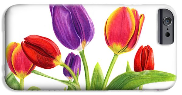 Pinks And Purple Petals iPhone Cases - Tulip Garden On White iPhone Case by Sarah Batalka