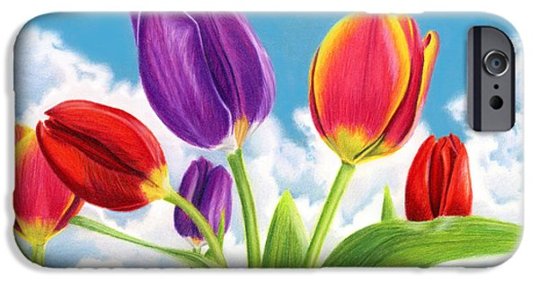 Flora Drawings iPhone Cases - Tulip Garden iPhone Case by Sarah Batalka