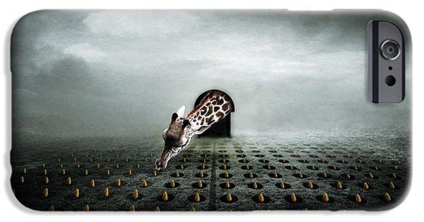 Giraffe Digital iPhone Cases - Tulip Thief  Two iPhone Case by Johan Lilja