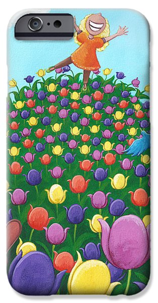 Childrens Books iPhone Cases - Tulip Time Painting iPhone Case by Christy Beckwith