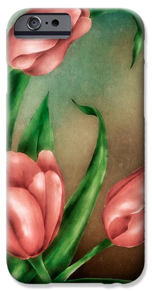 Hattiesburg iPhone Cases - Tulip Trio iPhone Case by Brenda Bryant