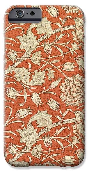 Tulip wallpaper design iPhone Case by William Morris