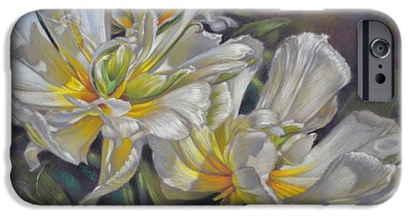 Flora Pastels iPhone Cases - Tulipomania 4 Exotic Emperor iPhone Case by Fiona Craig