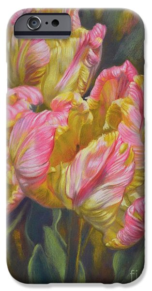 Florals Pastels iPhone Cases - Tulipomania 7 Pink and Yellow Parrots iPhone Case by Fiona Craig