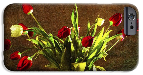 Abstract Digital Pyrography iPhone Cases - Tulips 1 iPhone Case by Mauro Celotti