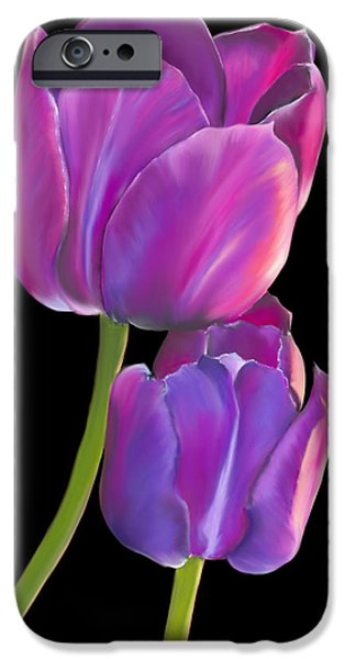 Gold Pastels iPhone Cases - Tulips 2 iPhone Case by Laura Bell
