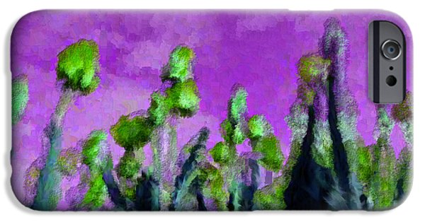 Discrimination Digital iPhone Cases - Tulips Abound Purple Teal iPhone Case by Holley Jacobs